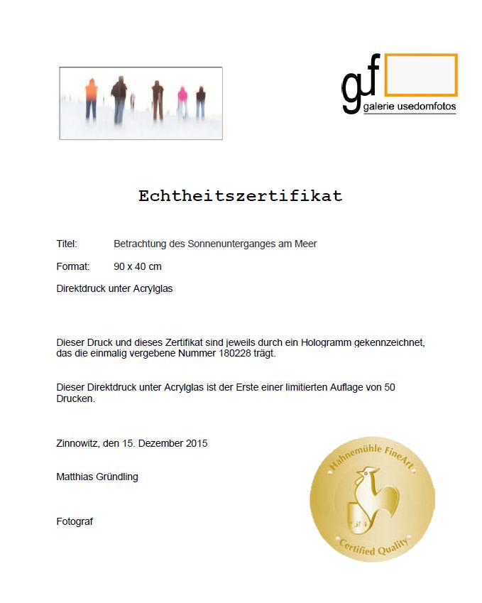 Echtheitszertifikat für limitierte Auflagen ausgewählter Werke von Künstlern der galerie usedomfotos